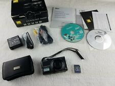 Nikon COOLPIX S6100 16.0MP 7x Zoom Digital Camera Black 4gb Card Case IOB Works