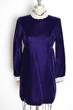 vintage 60s dress plum purple velvet empire waist babydoll kinder mod mini dress