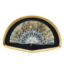 Antique Painted Fan Mother of Pearl Framed c1830 French Gilt Design