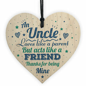 Uncle Friendship Gifts Brother Wooden Heart Sign Birthday Christmas Gift Present