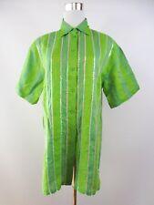 Italian Womens Vtg 90s Green Linen Short Sleeve Casual Shirt Blouse Plus sz BF76