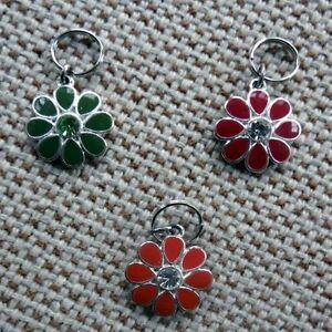 Metallic Silver and Enamel Flower Dog Collar Charm Bark Avenue Designs