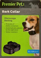Premier Pet Bark Dog Collar Discourage Barking 8 lbs + 6 months +Auto Adjust New