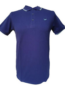Warrior UK England Pique Polo Shirt Cobalt Blue Slim-Fit Skinhead Mod Punk Hemd