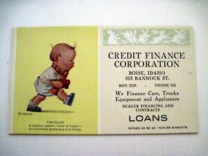"""Adorable Ad Blotter for """"Credit Finance Corp."""" w/ Baby Traveler  *"""