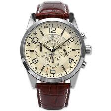 ORKINA Fashion Mens Leather Stainless Steel Case Quartz Analog Sport Wrist Watch