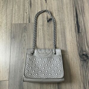 Tory Burch Fleming Quilted Convertible Shoulder Bag Taupe READ WORN