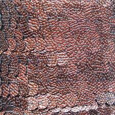 Sequin Trim Bronze Lizard Snakeskin 8mm flat strung by the yard. Made in USA.