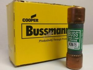 (10) ONE TIME BUSS FUSES NON-15, 15 AMP, 250 VOLT, Factory package.