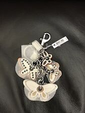 NEW! - Coach Butterfly Applique Leather Bag Charm Keychain - CHALK