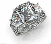 3.02 ct Radiant Cut Diamond Engagement Ring Wedding Band Solid 14k White Gold
