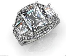 3.02 ct Radiant Cut Diamond Engagement Ring Wedding Band 14k Solid White Gold