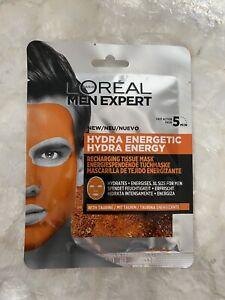 LOREAL MEN EXPERT HYDRA ENERGETIC SHEET MASK XL FOR MEN NEW!!