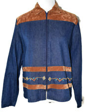 Gepetto Women's Denim/Lt. Brown Faux Suede Embroidered Jacket ~ Size M