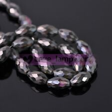 10/30pcs 13X8mm Oval Faceted Crystal Glass Loose Spacer Beads Lot Jewelry Making