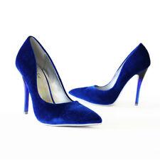 Fashionista Hot Tranding Velvet Pointy Toe Lucite Heel Stiletto Pump Sapphire