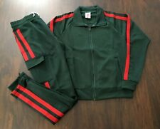 Men's Track Suit 2 Piece Jacket Pants Set Full Zip Italian Tracksuit Green S M L