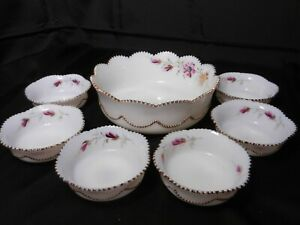 Heisey Bead Swag 7 Pc Berry Bowl Set Opaline Pink Florals Gold Trim ca 1899-1903