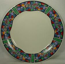 """GIBSON DESIGNS china COCA COLA Stained Glass DINNER PLATE 10-5/8"""""""