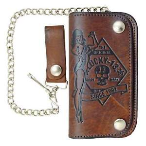 Lucky 13 No Riders Leather Chain Wallet Kustom Kulture Rockabilly Tattoo Brown