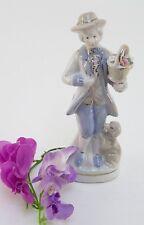Porzellanfigur Aufstellfigur Rokoko Jüngling mit Blumen & Hund 20,5 cm
