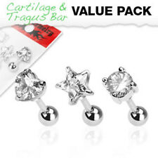 3 Pcs Value Pack 316L Surgical Steel Clear CZ Prong Tragus/Cartilage Piercing O