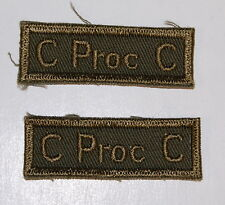 C PROC C -Canadian Provost Corps Sleeve Combat Badges-Cloth Khaki
