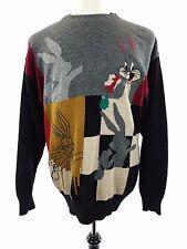 Vtg Iceberg Bugs Bunny Looney Tunes Color Block Italy Wool Sweater, Mens Medium