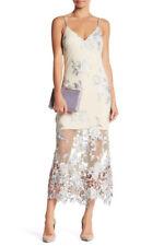 NEW ABS Allen Schwartz Embroidered Lace Slip Gown Sheer Cocktail Maxi Dress SZ 8