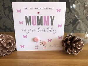 Handmade Personalised Button Birthday Card Mummy Nan Sister Auntie Dad Brother