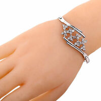 Charm Jewelry Silver Plated Flower Rhinestone Crystal Bracelet Cuff Bangle Gift