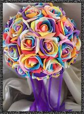 RAINBOW ROSES WEDDING FLOWERS  Brides posy bouquet