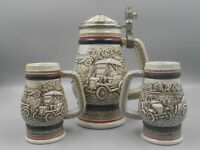 Vintage Avon Beer Stein and 2 Mini Beer Stein Mugs Handcrafted in Brazil 1979