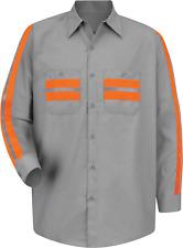 Red Kap Men's Enhanced Visibility Shirt, Light Grey with Trim, Long X-Large XL