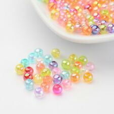 200pcs Pearlized Transparent AB Color Acrylic Beads Round Ball Jewelry DIY 4mm