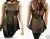 Size 8-28 Ladies womans sexy christmas party wet look gold shimmer peplum top