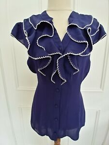Review Size 14 Indigo Sleeveless Shirt With Ruffle. Button Front.