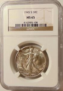 1945-S Walking Liberty Half Dol - NGC MS65 - Better Date - Pretty GEM BU Coin