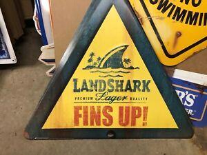 Landshark lager FINS UP metal tin triangle sign
