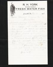 RH York Fresh Water Fish Cover & Illustrated Letterhead Jonesville LA 1913 z77
