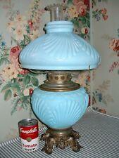 c. 1895 Blue Satin Glass Parlor Gwtw Banquet Lamp, Fostoria Consolidated Antique
