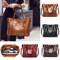 Damen Tasche Vintage Leder Shopper Handtasche Umhängetasche Schultertasche