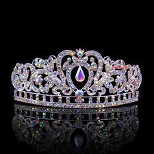 Kids AB White Heart Girl Children Wedding Prom Tiara Crown Headband - Kid Size