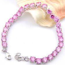 Jewelry Xmas Gift Round Fire Pink Topaz Silver Charm Chain Bracelets 8 Inch