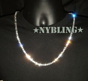 14K Gold Silver IP Tennis Chain Choker 5mm VVS Lab Diamond Hip Hop ICED Necklace