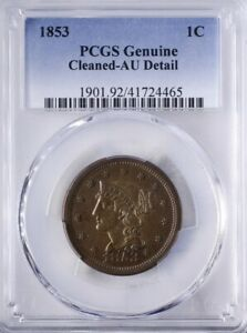 1853 Braided Hair Large Cent PCGS AUDetail cleaned, Outstanding Strike