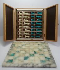 Älteres Schach Spiel Marmor mit Holzkasten A&A - made in Italy ~70er - 80er