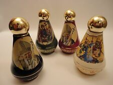 Pope John Paul Greek Orthodox & Catholic Gold Ceramic Icons 4 Holy Water Bottles