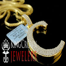 Real 14k Yellow Gold On Silver Micro Pave Simu Diamond Initials Letter C Pendant