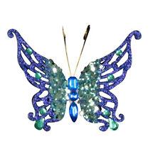 3x Gisela Graham con Joyas de Clip Brillo Mariposa Decoración Azul/Verde